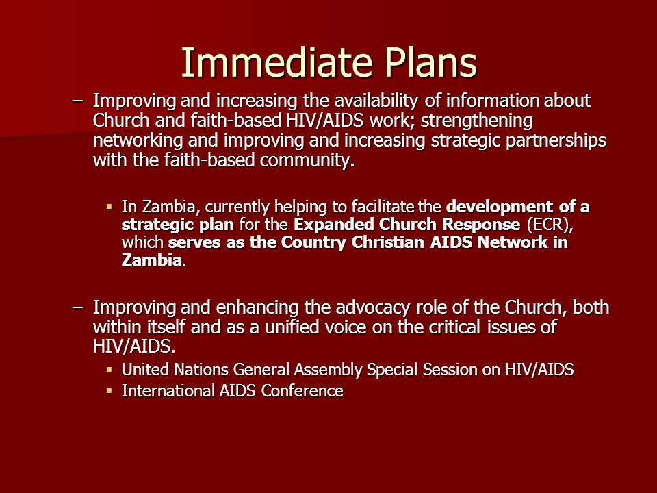 Immediate Plans –Improving and increasing the availability of information about Church and faith-based HIV/AIDS work; strengthening networking and improving and increasing strategic partnerships with the faith-based community.