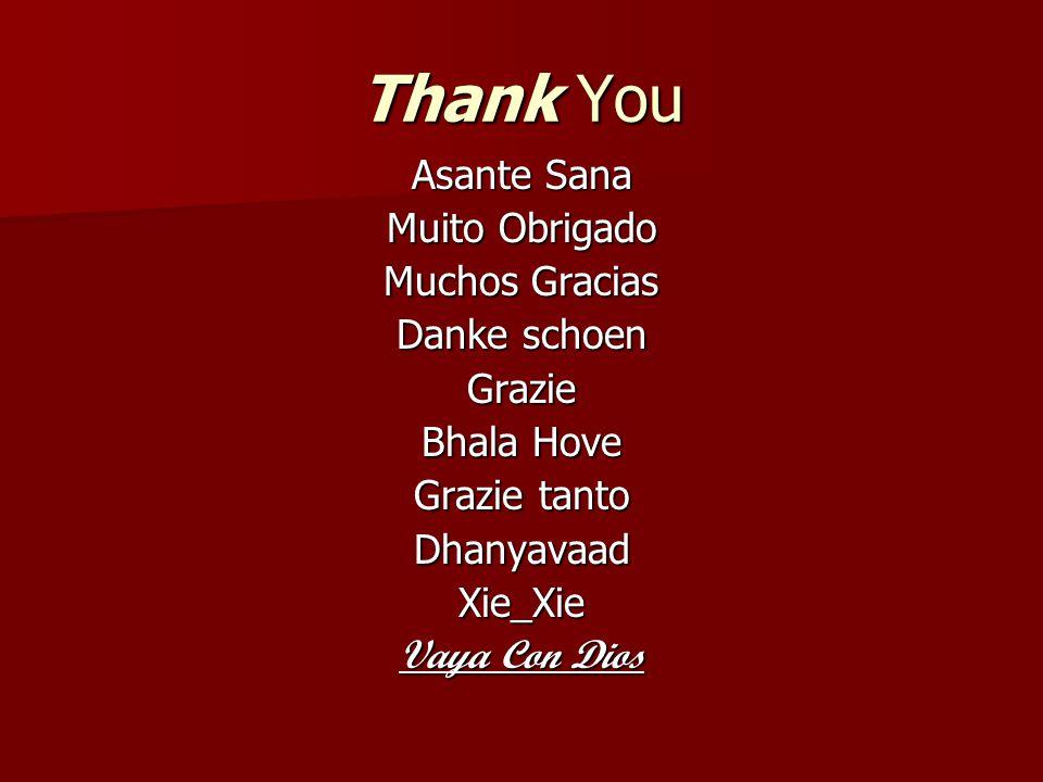 Thank You Asante Sana Muito Obrigado Muchos Gracias Danke schoen Grazie Bhala Hove Grazie tanto DhanyavaadXie_Xie Vaya Con Dios