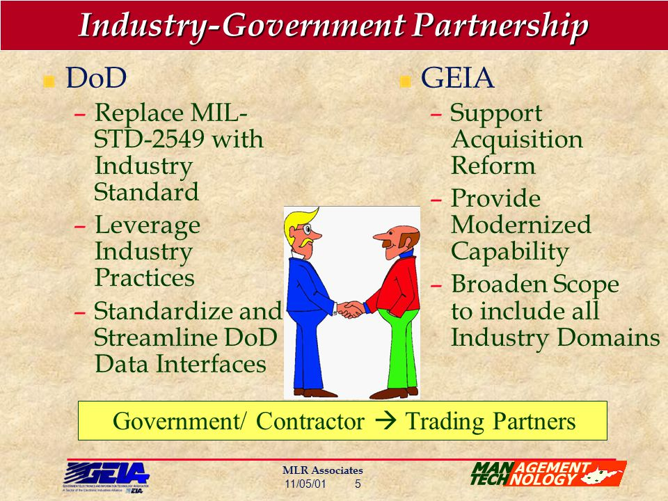 MLR Associates 11/05/01 5 Industry-Government Partnership DoD –Replace MIL- STD-2549 with Industry Standard –Leverage Industry Practices –Standardize