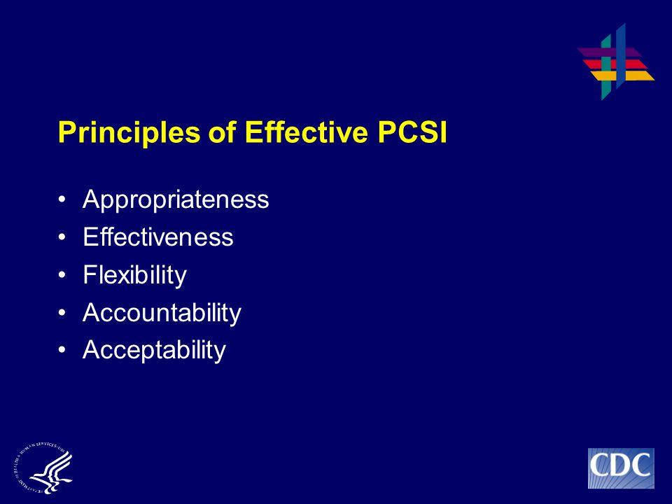Principles of Effective PCSI Appropriateness Effectiveness Flexibility Accountability Acceptability