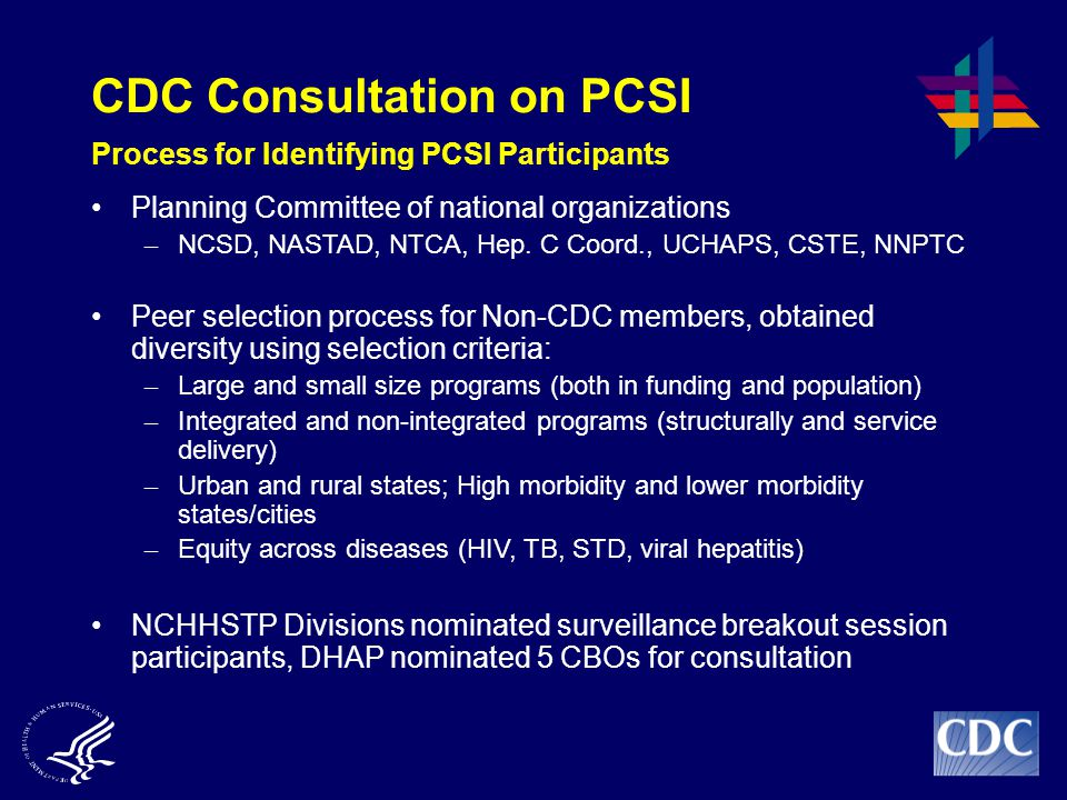CDC Consultation on PCSI Process for Identifying PCSI Participants Planning Committee of national organizations – NCSD, NASTAD, NTCA, Hep.