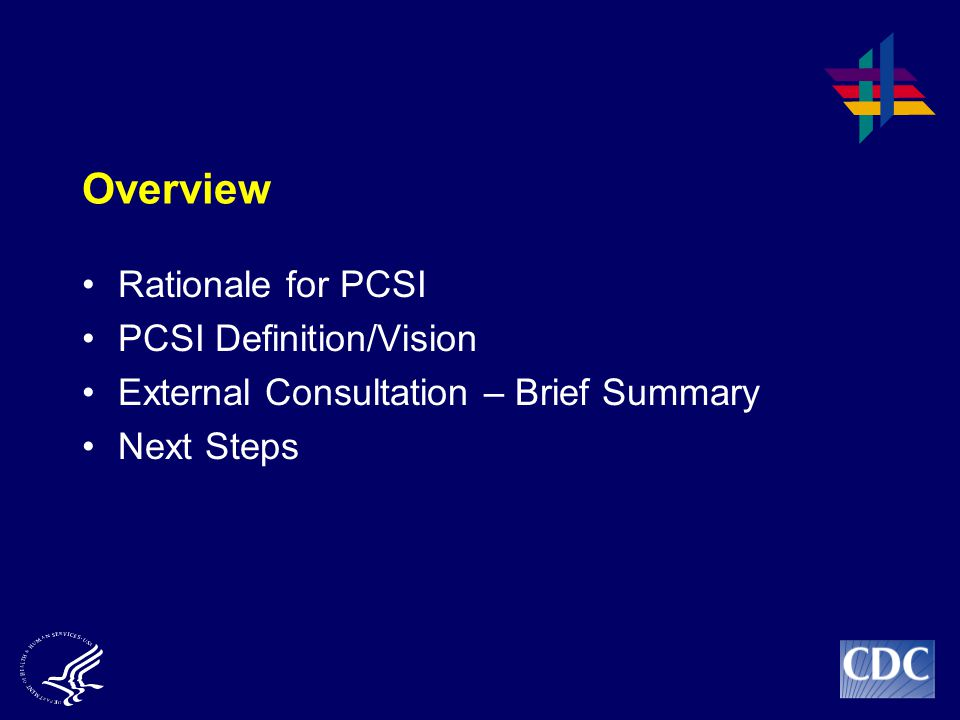 Overview Rationale for PCSI PCSI Definition/Vision External Consultation – Brief Summary Next Steps