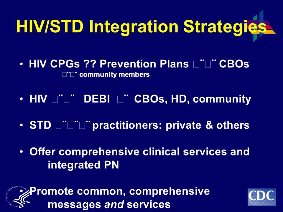 HIV/STD Integration Strategies HIV CPGs ?.