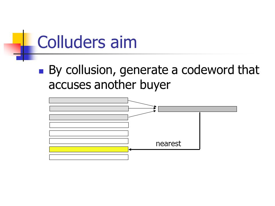 Colluders aim By collusion, generate a codeword that accuses another buyer nearest