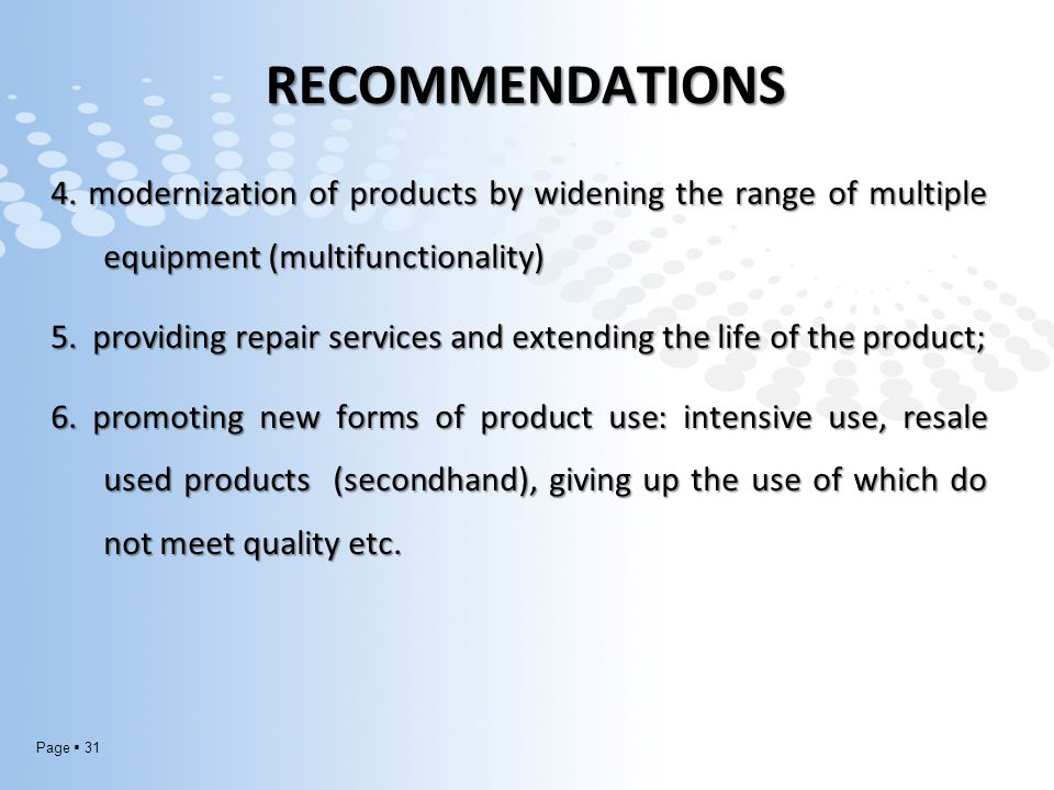 Page  31 RECOMMENDATIONS 4.