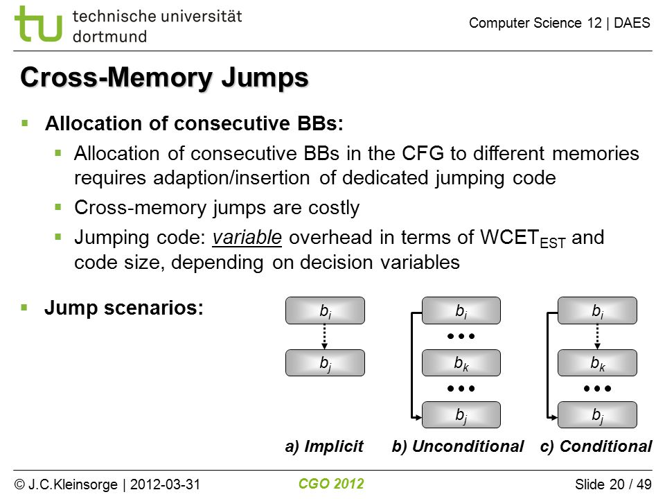© J.C.Kleinsorge | 2012-03-31 CGO 2012 Computer Science 12 | DAES Slide 20 / 49  Jump scenarios: Cross-Memory Jumps  Allocation of consecutive BBs:  Allocation of consecutive BBs in the CFG to different memories requires adaption/insertion of dedicated jumping code  Cross-memory jumps are costly  Jumping code: variable overhead in terms of WCET EST and code size, depending on decision variables bibi bkbk bjbj bibi bkbk bjbj bibi bjbj a) Implicitb) Unconditional c) Conditional