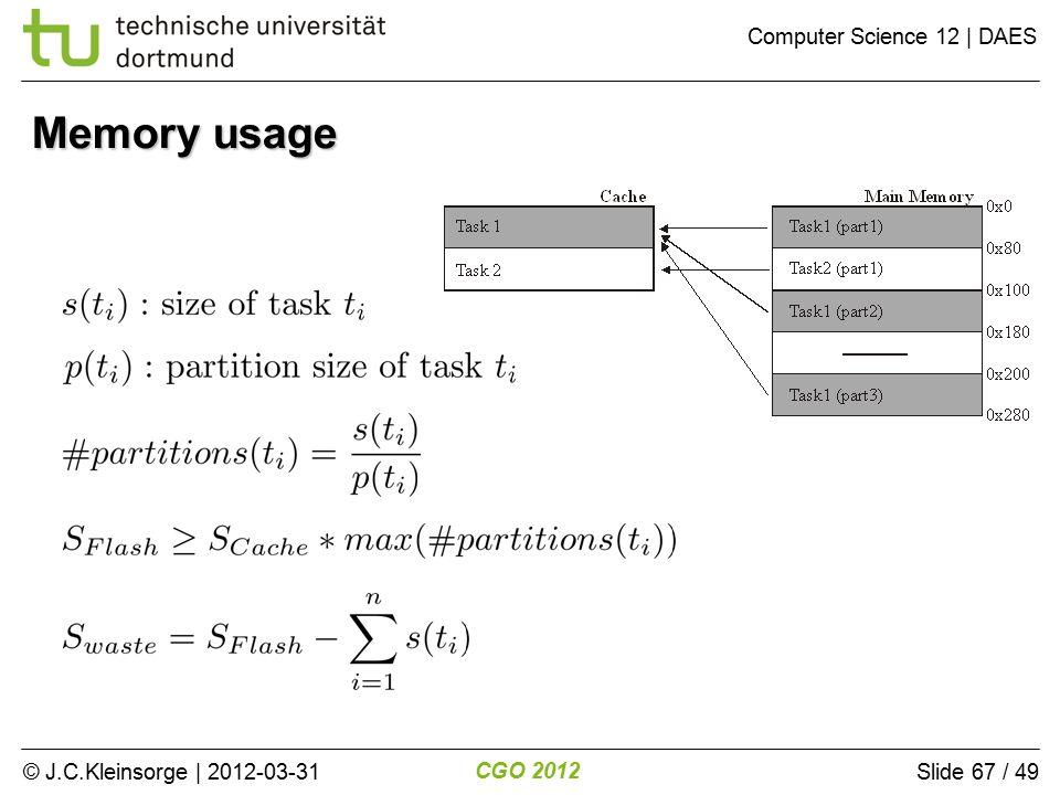 © J.C.Kleinsorge | 2012-03-31 CGO 2012 Computer Science 12 | DAES Slide 67 / 49 Memory usage