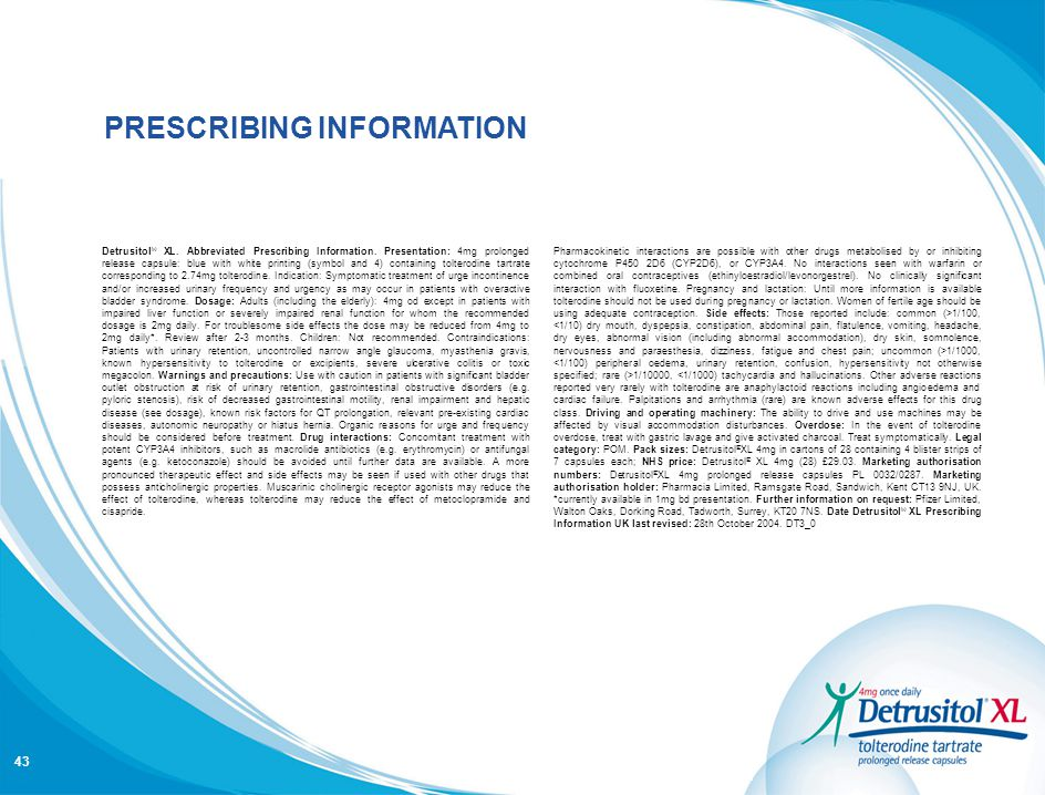 PRESCRIBING INFORMATION IS AVAILABLE ON LAST SLIDE PRESCRIBING INFORMATION 43 Detrusitol ® XL. Abbreviated Prescribing Information. Presentation: 4mg