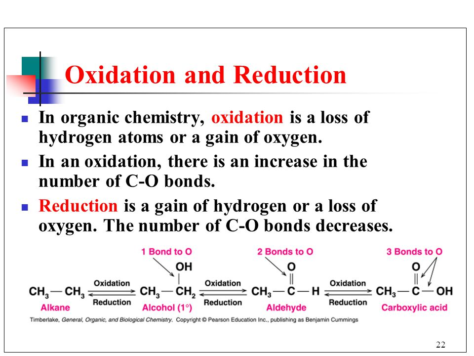 22 Oxidation and Reduction In organic chemistry, oxidation is a loss of hydrogen atoms or a gain of oxygen. In an oxidation, there is an increase in t
