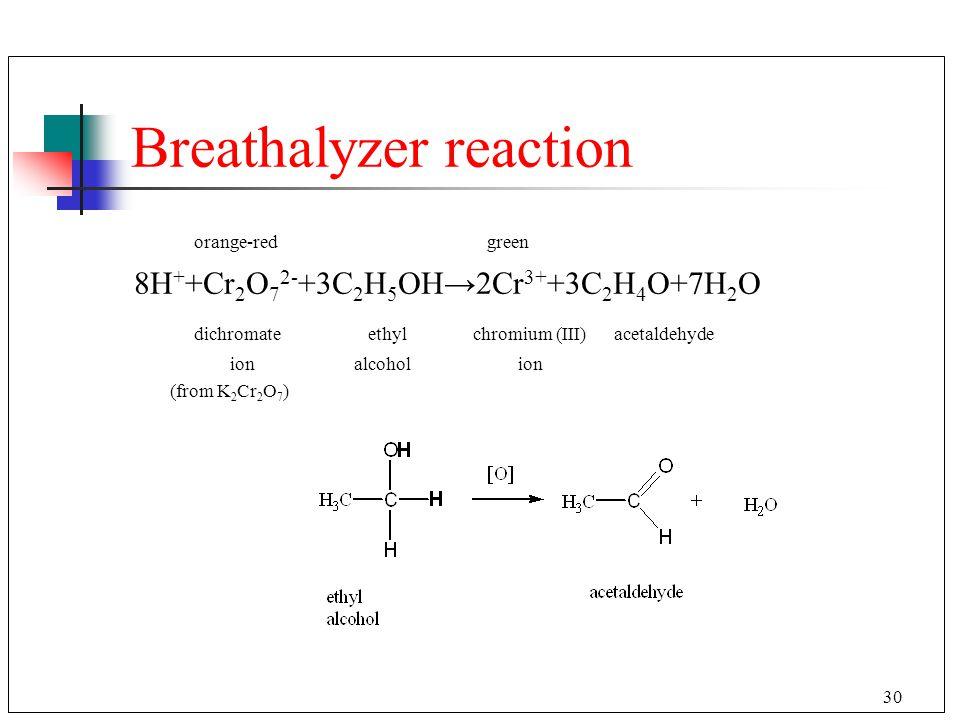 30 Breathalyzer reaction orange-red green 8H + +Cr 2 O 7 2- +3C 2 H 5 OH→2Cr 3+ +3C 2 H 4 O+7H 2 O dichromate ethyl chromium (III)acetaldehyde ion alc