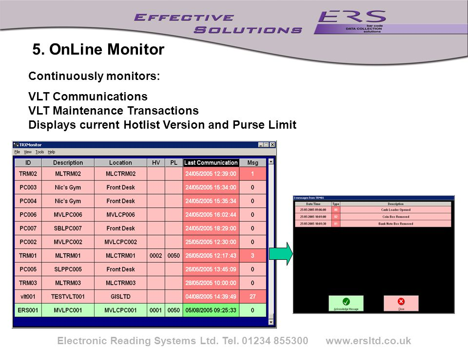 Electronic Reading Systems Ltd. Tel. 01234 855300 www.ersltd.co.uk Continuously monitors: VLT Communications VLT Maintenance Transactions Displays cur