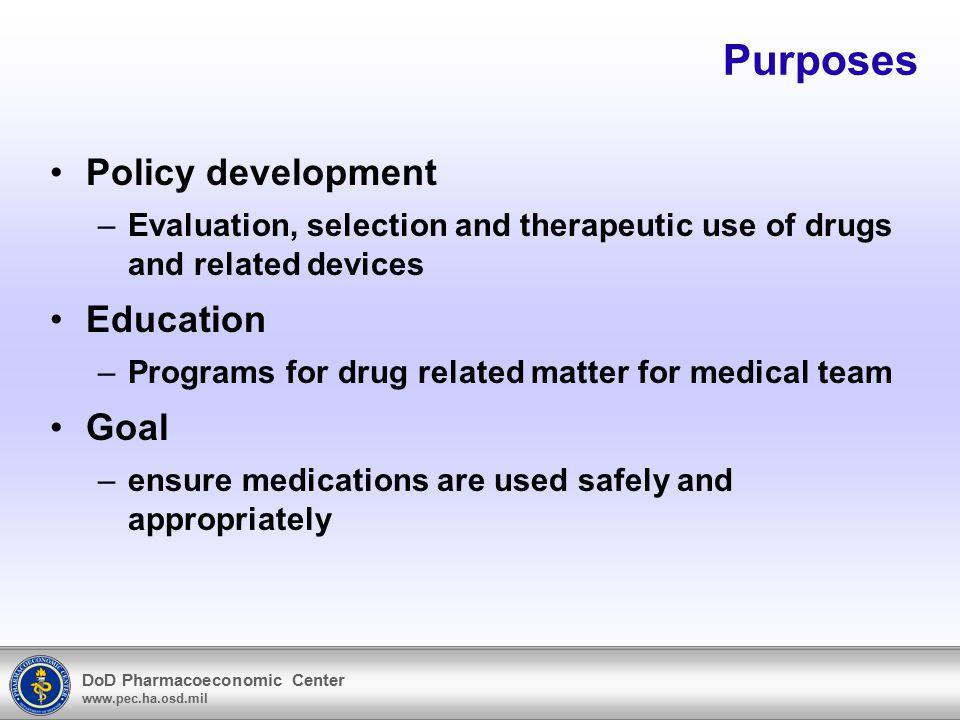 DoD Pharmacoeconomic Center www.pec.ha.osd.mil MTF