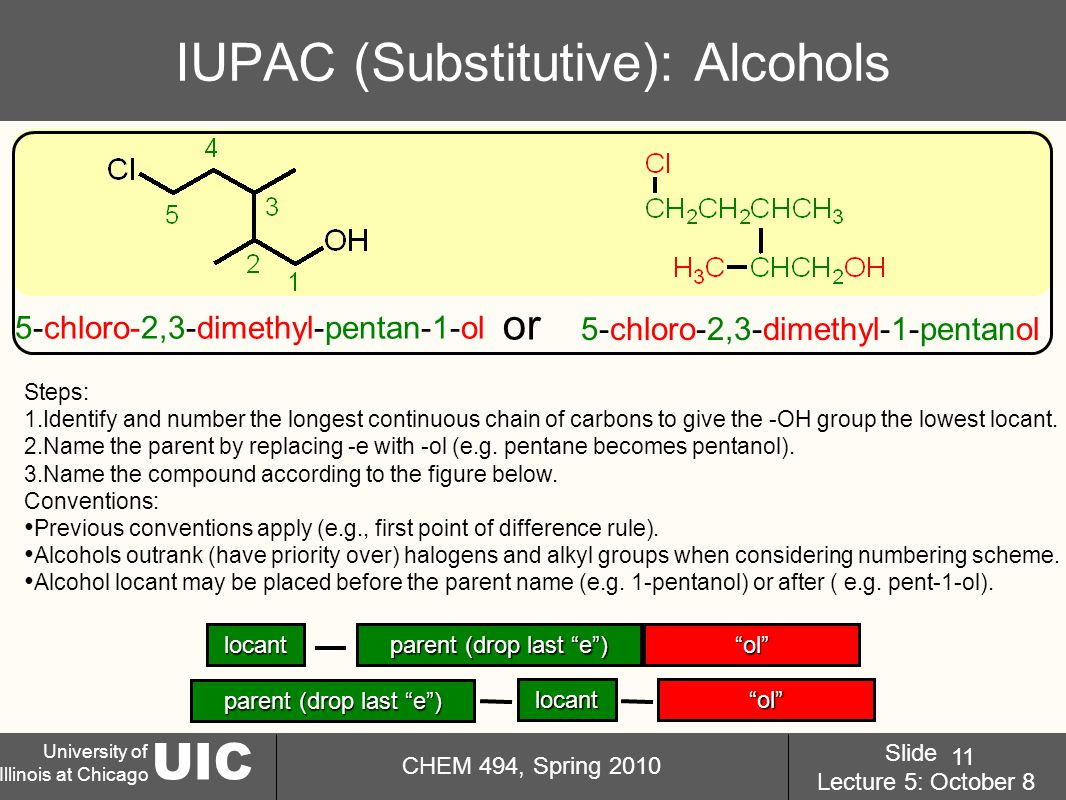 UIC University of Illinois at Chicago CHEM 494, Spring 2010 Slide Lecture 5: October 8 11 IUPAC (Substitutive): Alcohols Steps: 1.Identify and number the longest continuous chain of carbons to give the -OH group the lowest locant.