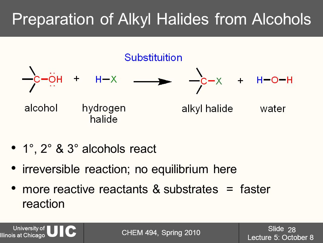 UIC University of Illinois at Chicago CHEM 494, Spring 2010 Slide Lecture 5: October 8 28 Preparation of Alkyl Halides from Alcohols 1°, 2° & 3° alcohols react irreversible reaction; no equilibrium here more reactive reactants & substrates = faster reaction