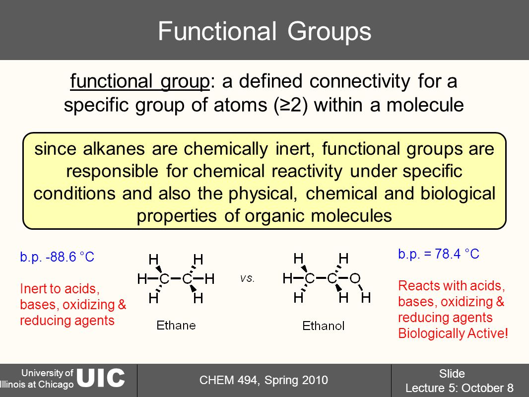 UIC University of Illinois at Chicago CHEM 494, Spring 2010 Slide Lecture 5: October 8 Functional Groups functional group: a defined connectivity for a specific group of atoms (≥2) within a molecule since alkanes are chemically inert, functional groups are responsible for chemical reactivity under specific conditions and also the physical, chemical and biological properties of organic molecules b.p.