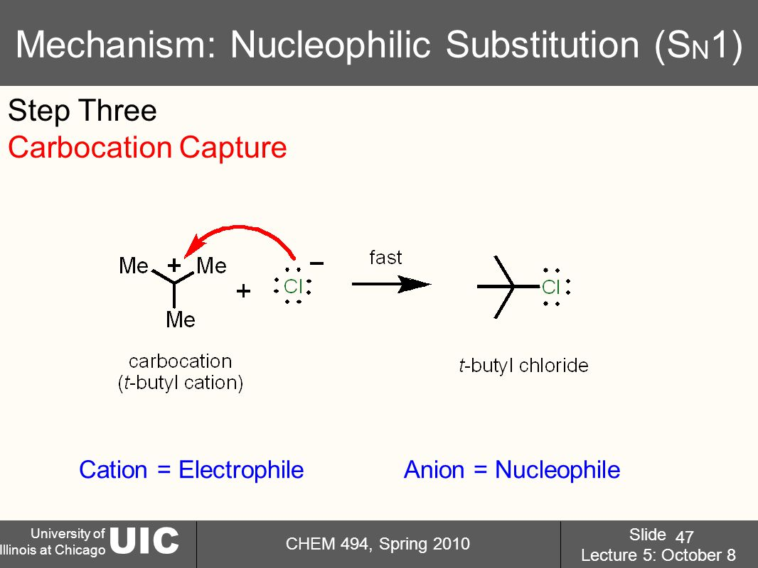 UIC University of Illinois at Chicago CHEM 494, Spring 2010 Slide Lecture 5: October 8 47 Mechanism: Nucleophilic Substitution (S N 1) Step Three Carbocation Capture Cation = ElectrophileAnion = Nucleophile