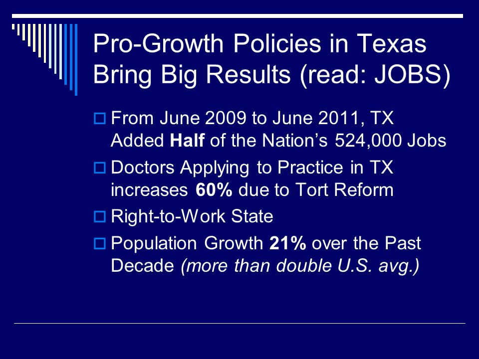 Pro-Growth Policies in Texas Bring Big Results (read: JOBS)  From June 2009 to June 2011, TX Added Half of the Nation's 524,000 Jobs  Doctors Applying to Practice in TX increases 60% due to Tort Reform  Right-to-Work State  Population Growth 21% over the Past Decade (more than double U.S.