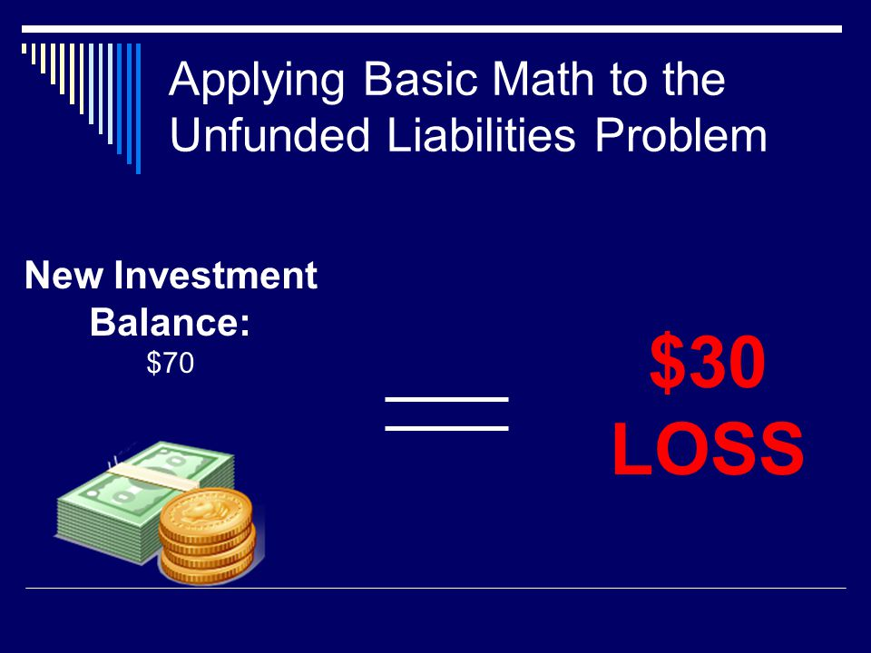 Applying Basic Math to the Unfunded Liabilities Problem New Investment Balance: $70 $30 LOSS