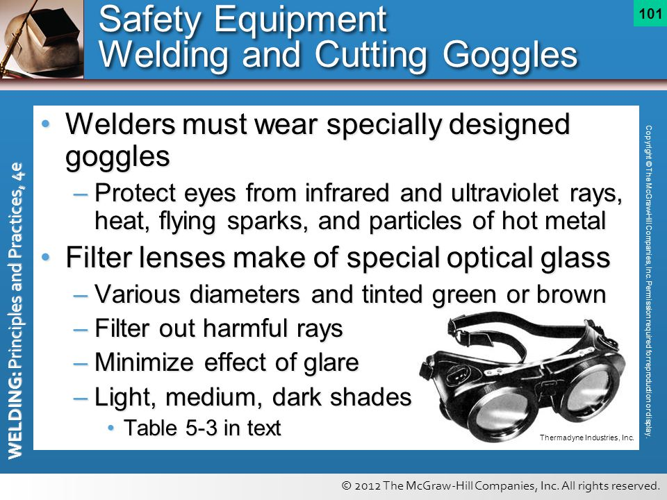 © 2012 The McGraw-Hill Companies, Inc. All rights reserved. WELDING: Principles and Practices, 4e 101 Welders must wear specially designed gogglesWeld