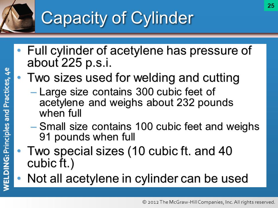 © 2012 The McGraw-Hill Companies, Inc. All rights reserved. WELDING: Principles and Practices, 4e 25 Capacity of Cylinder Full cylinder of acetylene h