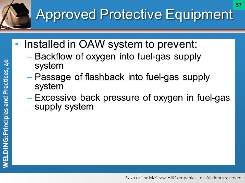 © 2012 The McGraw-Hill Companies, Inc. All rights reserved. WELDING: Principles and Practices, 4e 57 Approved Protective Equipment Installed in OAW sy