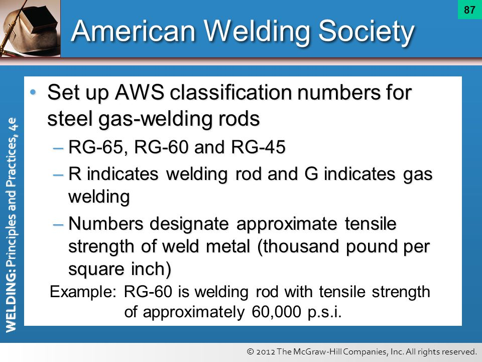© 2012 The McGraw-Hill Companies, Inc. All rights reserved. WELDING: Principles and Practices, 4e 87 American Welding Society Set up AWS classificatio