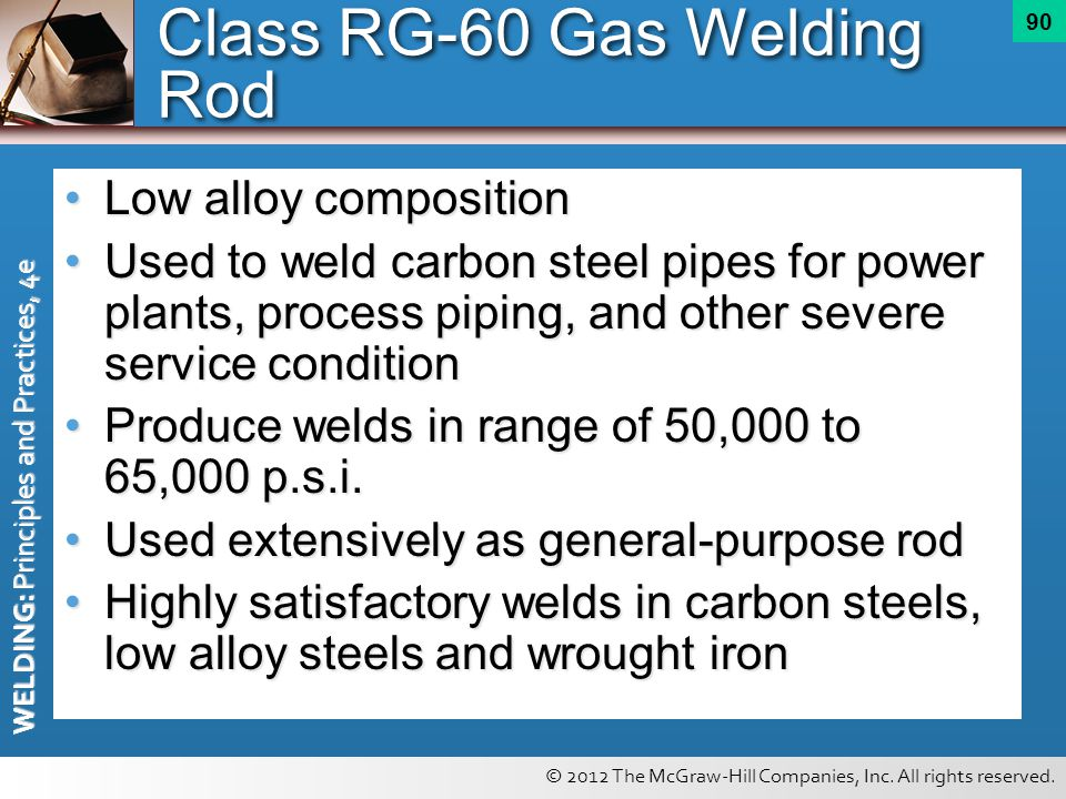 © 2012 The McGraw-Hill Companies, Inc. All rights reserved. WELDING: Principles and Practices, 4e 90 Low alloy compositionLow alloy composition Used t