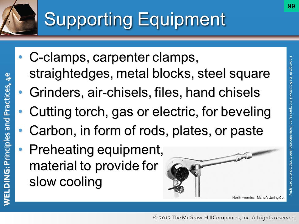 © 2012 The McGraw-Hill Companies, Inc. All rights reserved. WELDING: Principles and Practices, 4e 99 Supporting Equipment C-clamps, carpenter clamps,