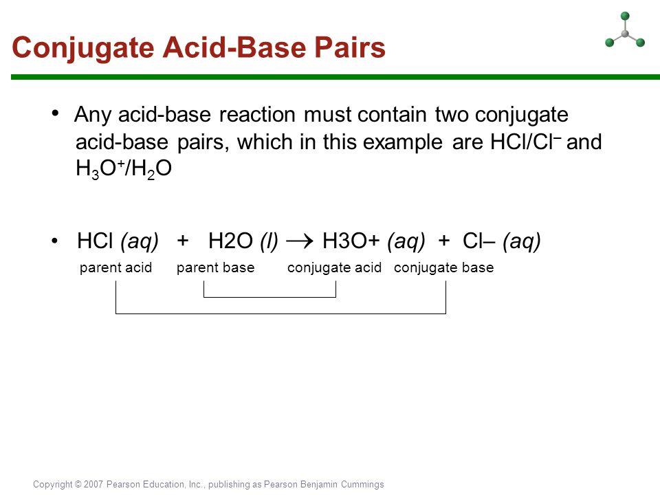 Copyright © 2007 Pearson Education, Inc., publishing as Pearson Benjamin Cummings Conjugate Acid-Base Pairs Any acid-base reaction must contain two co
