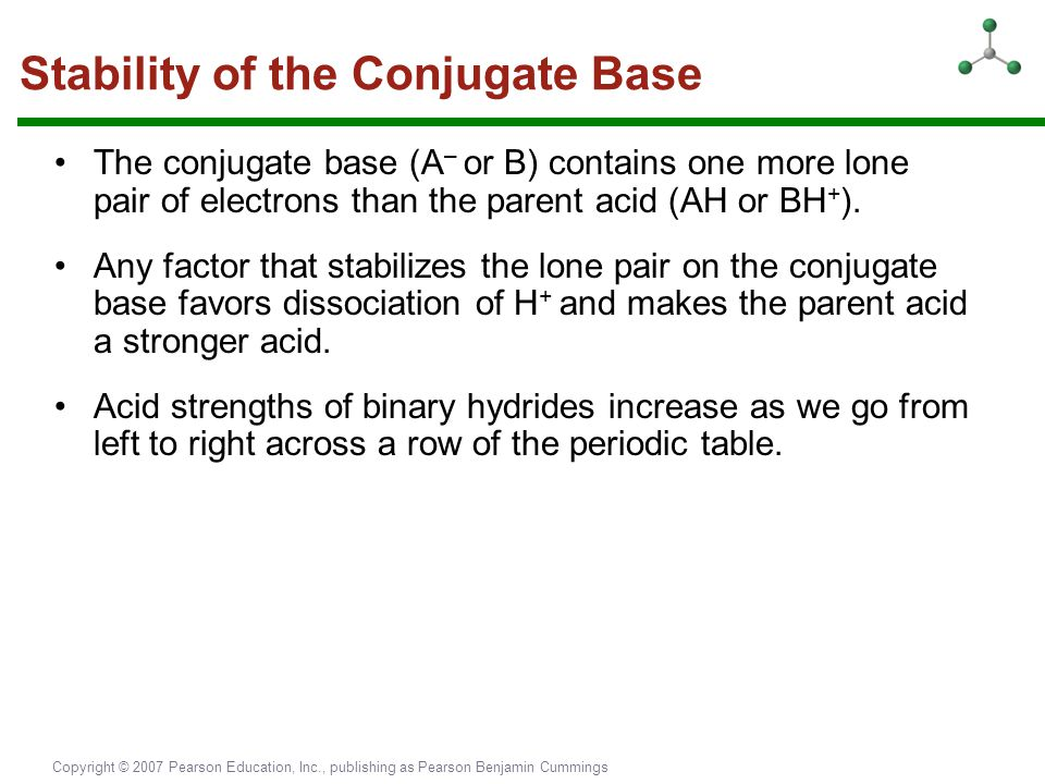 Copyright © 2007 Pearson Education, Inc., publishing as Pearson Benjamin Cummings The conjugate base (A – or B) contains one more lone pair of electro
