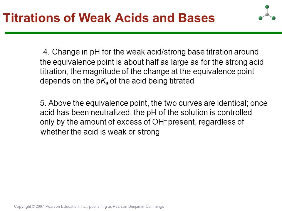 Copyright © 2007 Pearson Education, Inc., publishing as Pearson Benjamin Cummings Titrations of Weak Acids and Bases 4. Change in pH for the weak acid