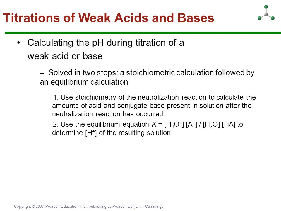 Copyright © 2007 Pearson Education, Inc., publishing as Pearson Benjamin Cummings Titrations of Weak Acids and Bases Calculating the pH during titrati
