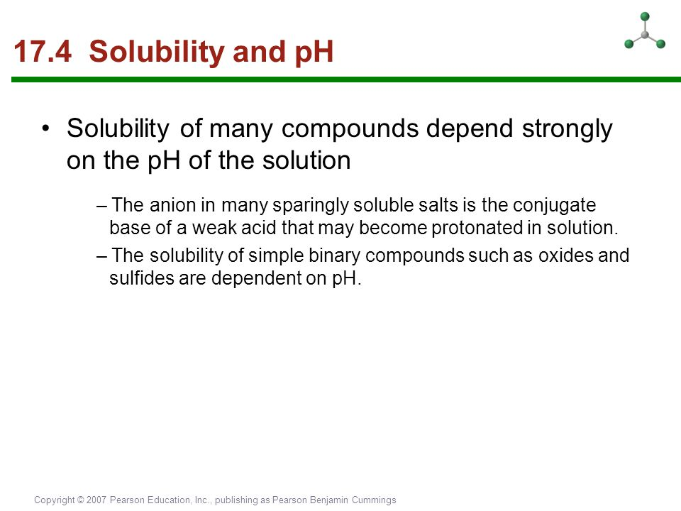 Copyright © 2007 Pearson Education, Inc., publishing as Pearson Benjamin Cummings 17.4 Solubility and pH Solubility of many compounds depend strongly