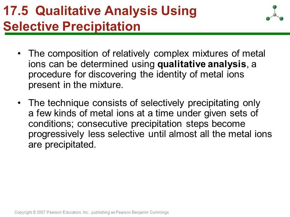 Copyright © 2007 Pearson Education, Inc., publishing as Pearson Benjamin Cummings 17.5 Qualitative Analysis Using Selective Precipitation The composit