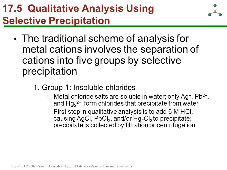 Copyright © 2007 Pearson Education, Inc., publishing as Pearson Benjamin Cummings 17.5 Qualitative Analysis Using Selective Precipitation The traditio