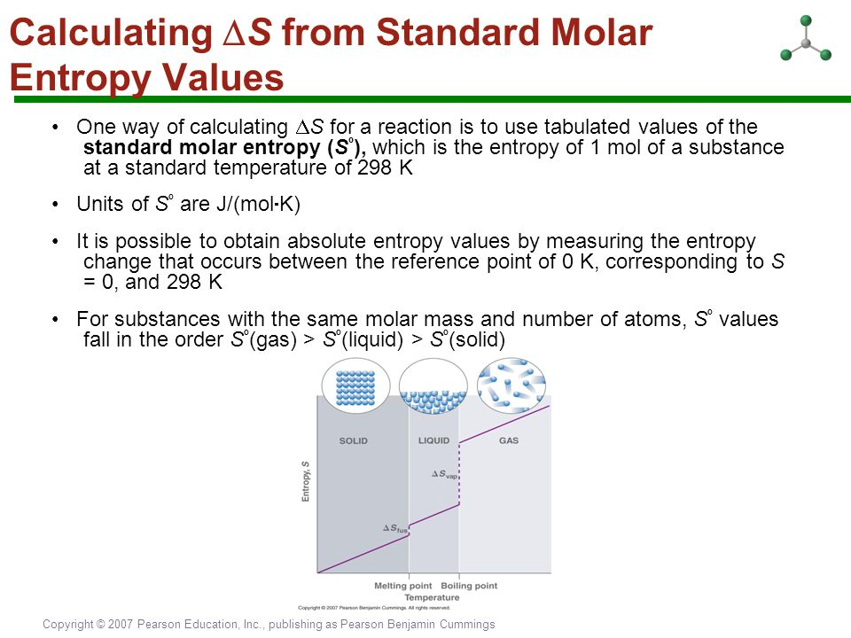 Copyright © 2007 Pearson Education, Inc., publishing as Pearson Benjamin Cummings Calculating  S from Standard Molar Entropy Values One way of calcul