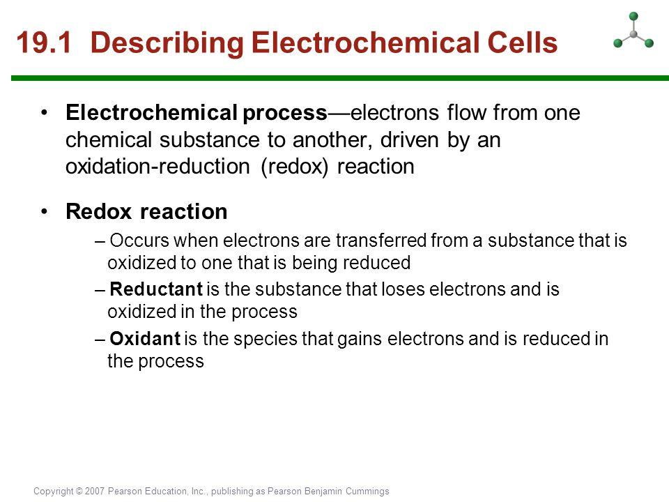 Copyright © 2007 Pearson Education, Inc., publishing as Pearson Benjamin Cummings 19.1 Describing Electrochemical Cells Electrochemical process—electr