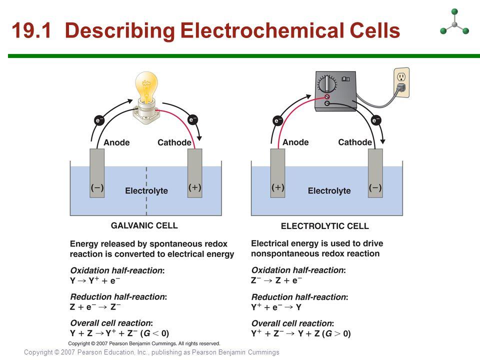 Copyright © 2007 Pearson Education, Inc., publishing as Pearson Benjamin Cummings 19.1 Describing Electrochemical Cells
