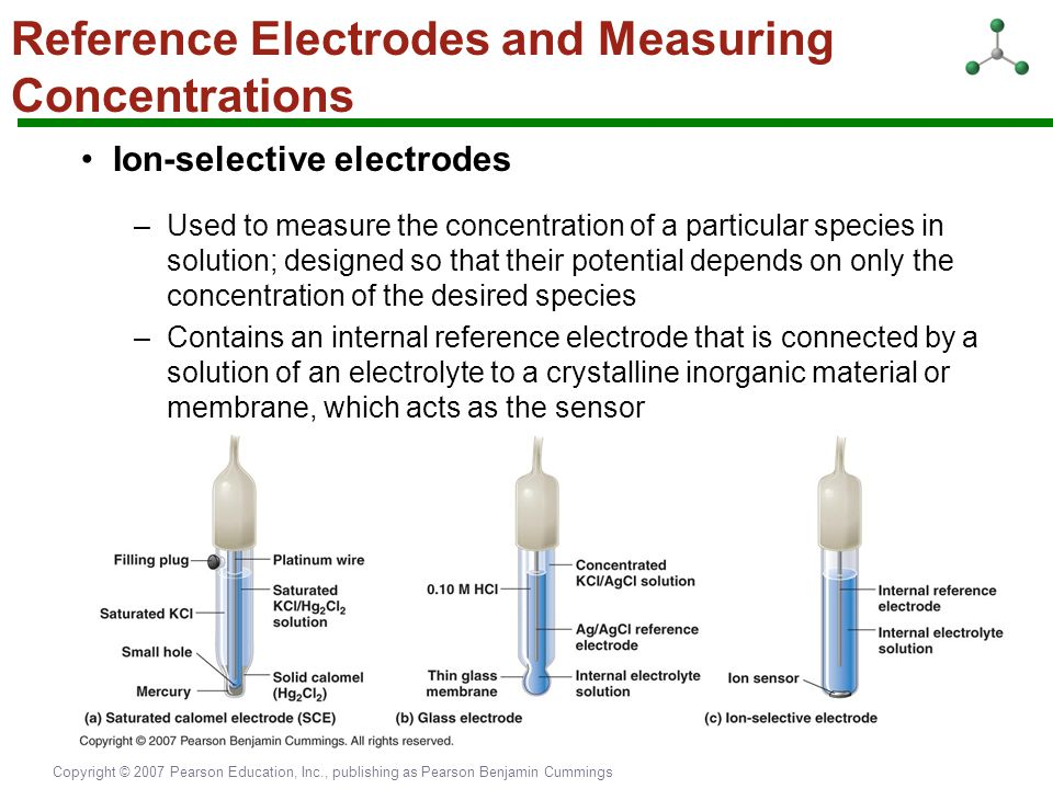 Copyright © 2007 Pearson Education, Inc., publishing as Pearson Benjamin Cummings Reference Electrodes and Measuring Concentrations Ion-selective elec