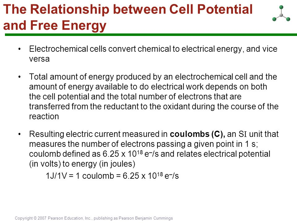 Copyright © 2007 Pearson Education, Inc., publishing as Pearson Benjamin Cummings The Relationship between Cell Potential and Free Energy Electrochemi