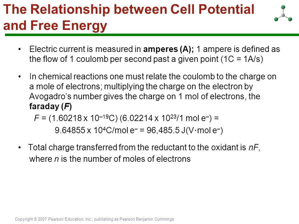 Copyright © 2007 Pearson Education, Inc., publishing as Pearson Benjamin Cummings The Relationship between Cell Potential and Free Energy Electric cur