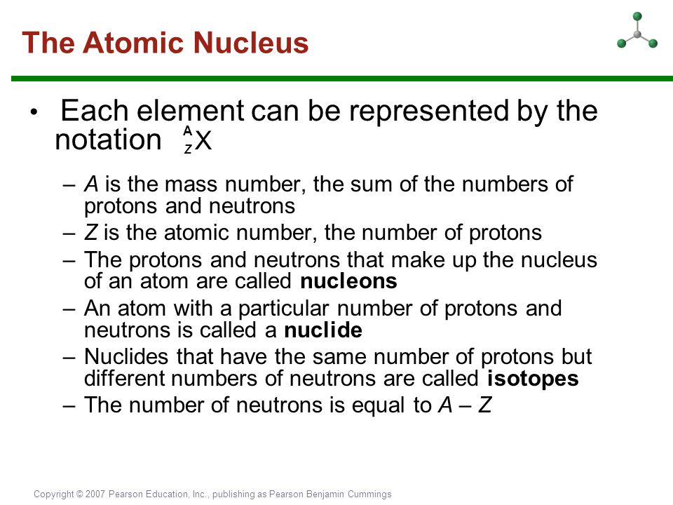 Copyright © 2007 Pearson Education, Inc., publishing as Pearson Benjamin Cummings The Atomic Nucleus Each element can be represented by the notation Z