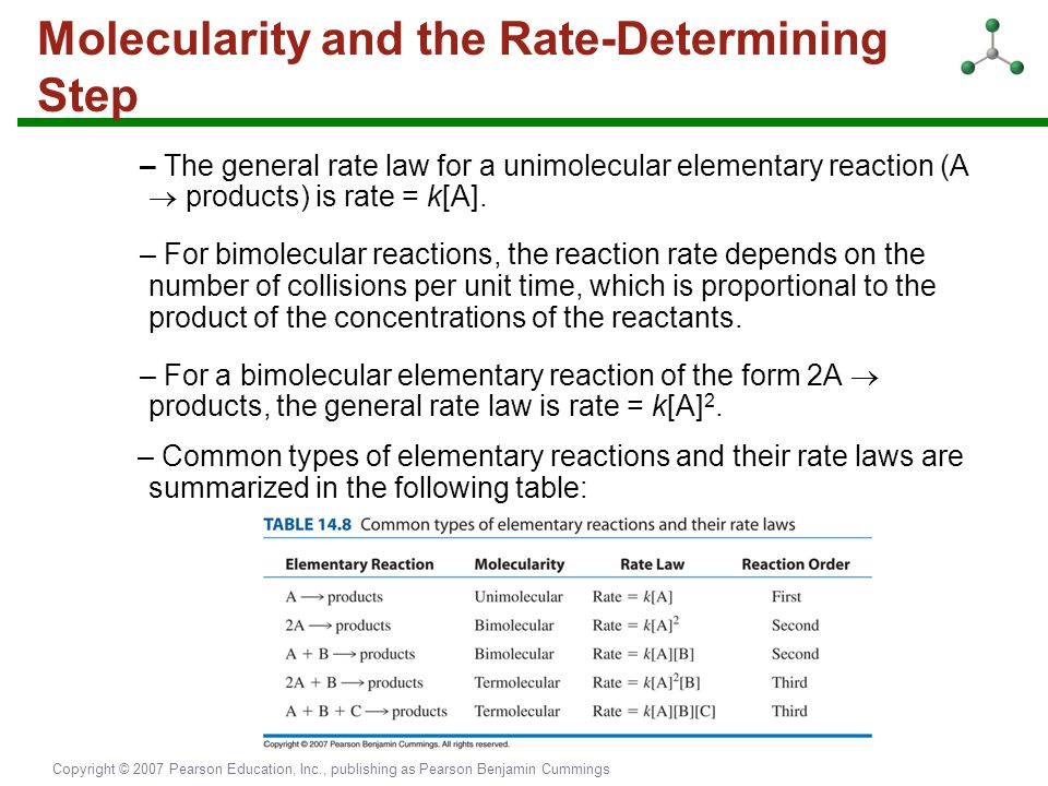Copyright © 2007 Pearson Education, Inc., publishing as Pearson Benjamin Cummings Molecularity and the Rate-Determining Step – The general rate law fo