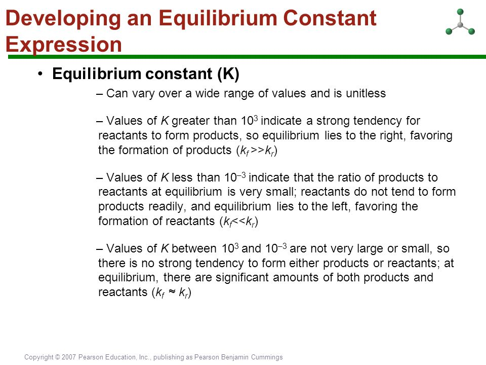 Copyright © 2007 Pearson Education, Inc., publishing as Pearson Benjamin Cummings Developing an Equilibrium Constant Expression Equilibrium constant (