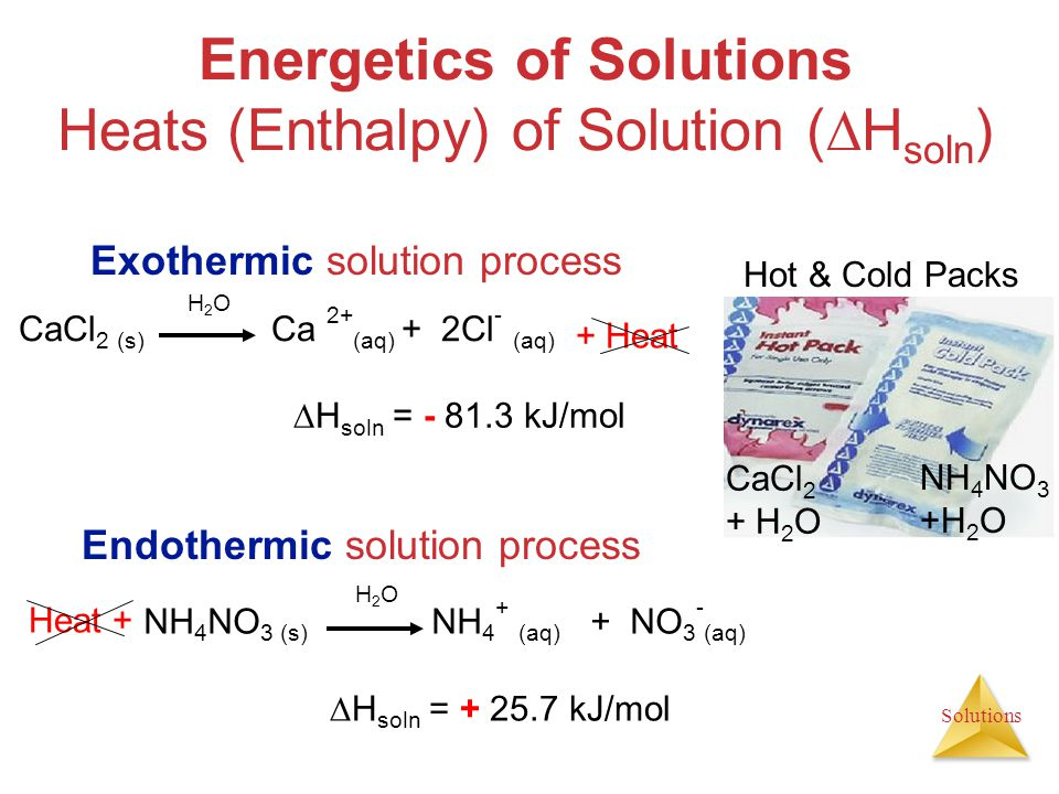 Solutions Energetics of Solutions Heats (Enthalpy) of Solution (  H soln ) Exothermic solution process NH 4 NO 3 (s) NH 4 + (aq) + NO 3 - (aq) CaCl 2