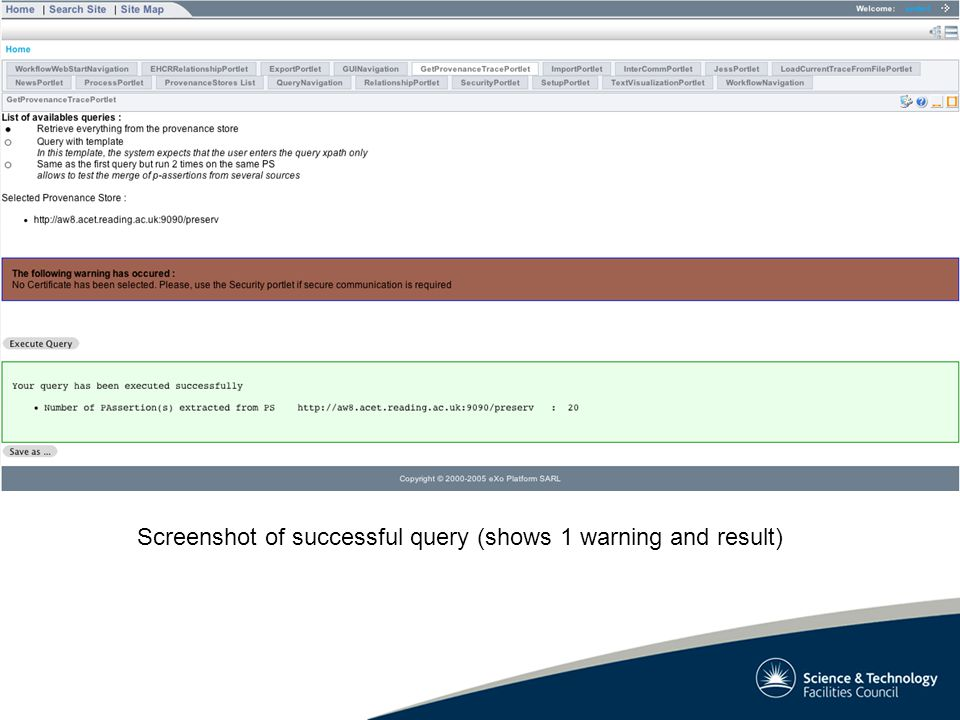 Screenshot of successful query (shows 1 warning and result)