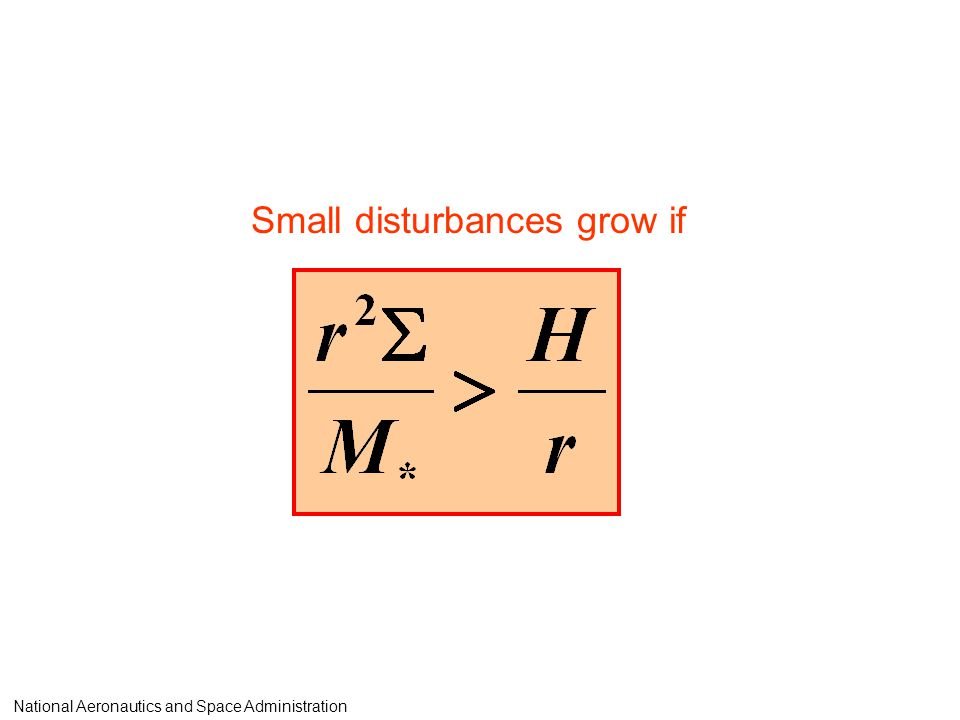 Small disturbances grow if National Aeronautics and Space Administration