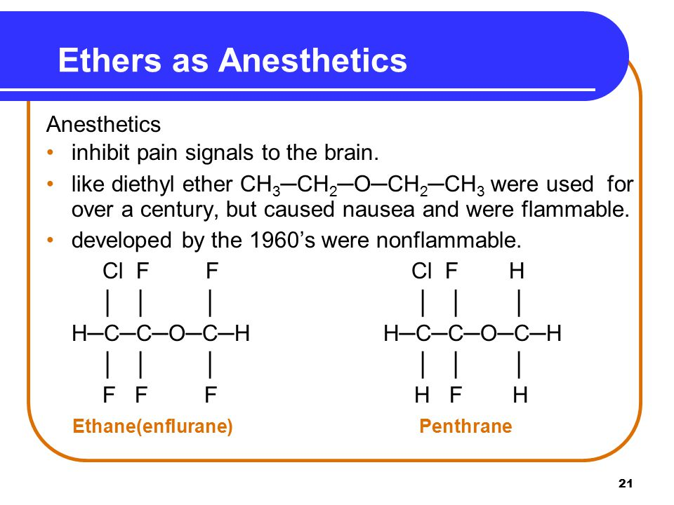 21 Ethers as Anesthetics Anesthetics inhibit pain signals to the brain.