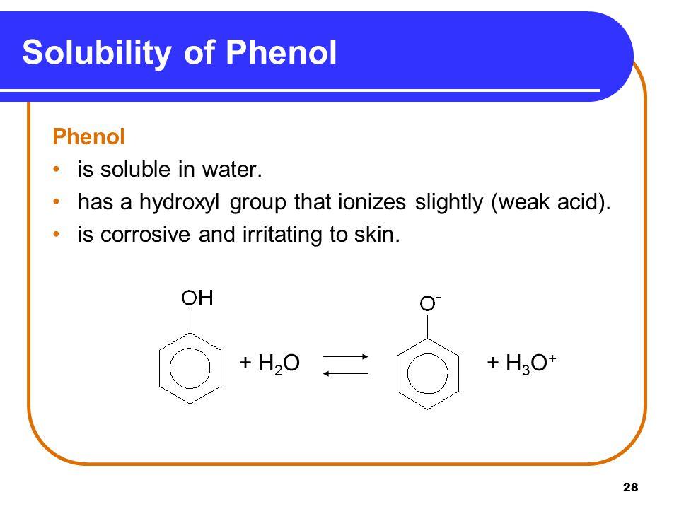 28 Solubility of Phenol Phenol is soluble in water.