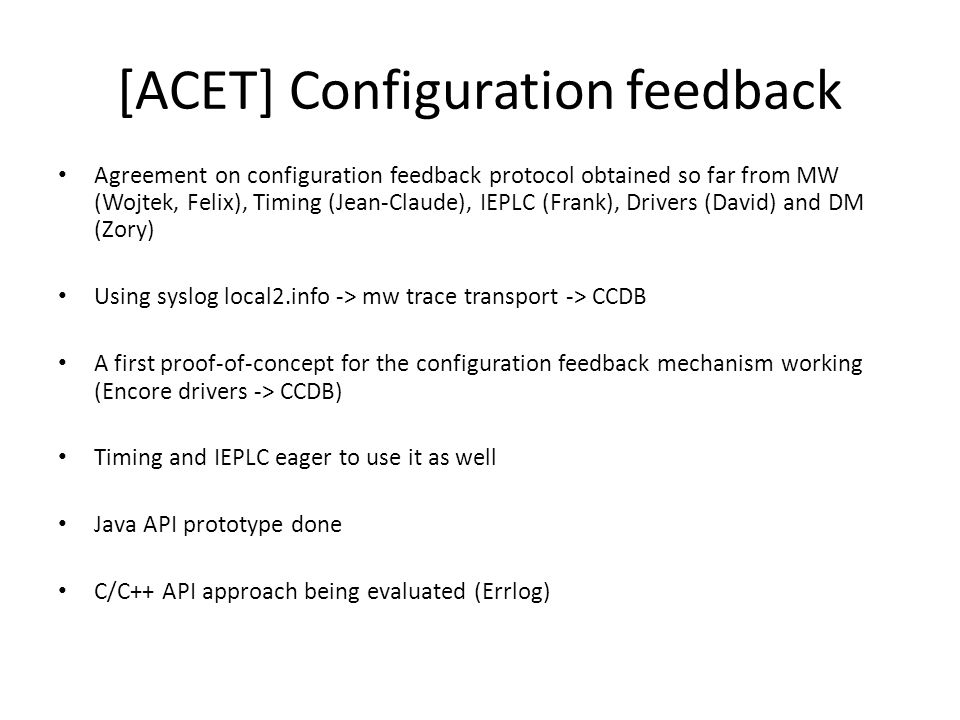 Misc progress Smooth upgrades –Donat Csikos (HU), technical student has arrived –Works on tools to help developers make smooth upgrades General purpose component diagnostics in Java servers (Daniel Teixeira) –Traces calls from clients to Java servers –Info accessible through JMX –Based on first implementation done for LHC logging server 8